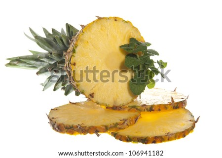 a Fresh pineapple on a white background