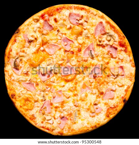 a fresh pizza with ham and mushrooms, isolated, top view - stock photo