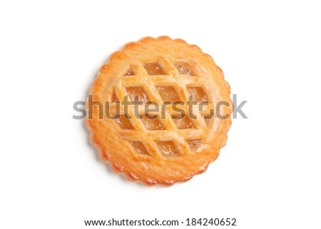 A freshly baked homemade tart, siloated on white background - stock photo