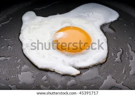 A fried egg in a coated pan