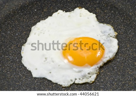A fried egg in a frying pan, close-up