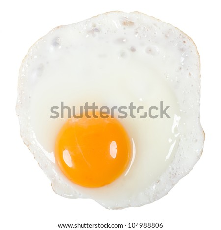a fried egg isolated before white background - stock photo