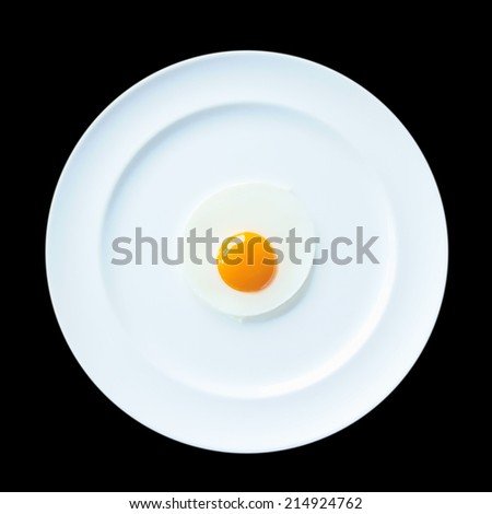 a fried egg on white dish over black background - stock photo