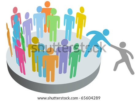 A friend helps a person join a company club team or other group. - stock photo