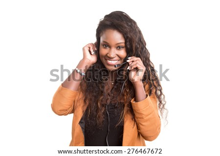 A friendly african telephone operator smiling isolated over a white background - stock photo