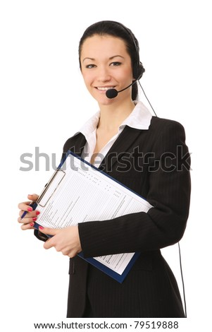 A friendly call customer service girl with a clipboard, isolated on white - stock photo