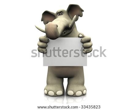 A friendly cartoon elephant holding a blank sign. - stock photo