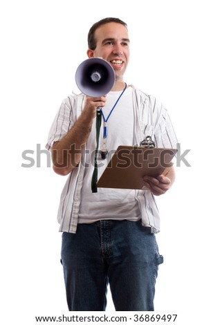 A friendly coach is holding his clipboard and a megaphone trying to promote teamwork, isolated against a white background
