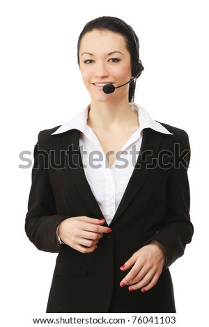 A friendly customer service girl with a headset - stock photo