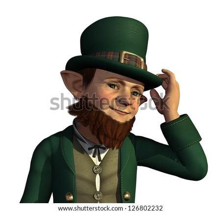 A friendly leprechaun tips his hat to you - 3D render.