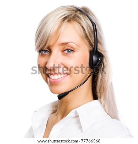 A friendly secretary/telephone operator. Isolated on white background - stock photo