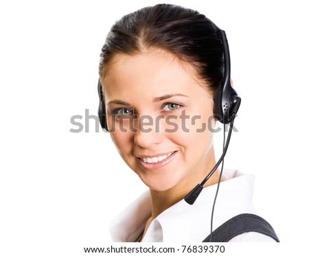 A friendly secretary/telephone operator on the white background - stock photo
