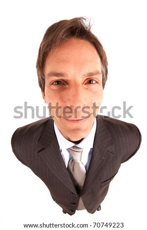 A friendly, smiling businessman. Isolated against white background. Shoot with a very wide lens. - stock photo