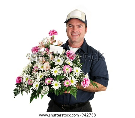A friendly, smiling flower delivery man.