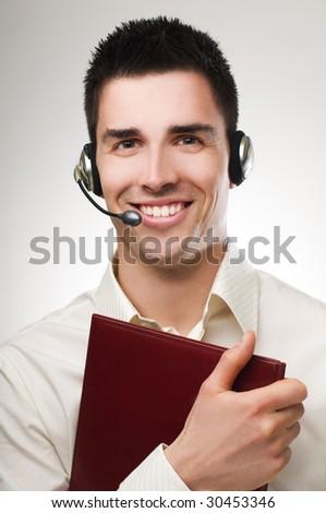 A friendly telephone operator close up shoot - stock photo