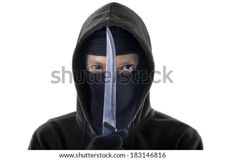 A frightening man holding sharp knife. isolated on white background - stock photo