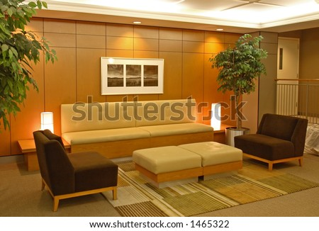 A front lobby, waiting area. - stock photo