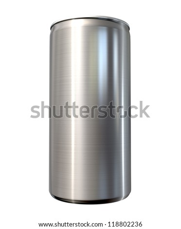 A front view of a regular brushed aluminum soda can on an isolated background - stock photo