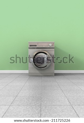 A front view of an empty regular brushed metal washing machine in an empty room with a shiny tiled floor and a green wall - stock photo