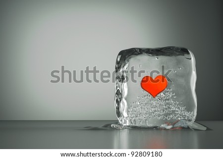 A Frozen Red Heart As A Symbol Of Frozen Love, Ice Cubes With Heart,