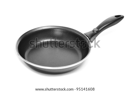 a frying pan on a white background - stock photo