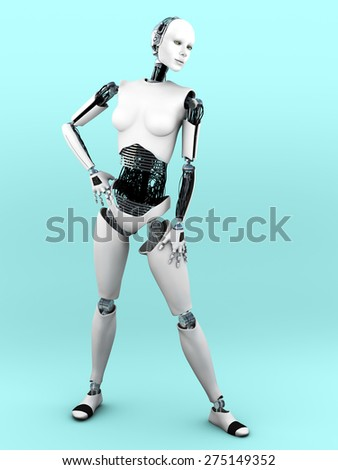 A full body image of a robot woman in a standing pose. Bluish background. - stock photo