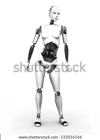 A full body image of a robot woman standing. White background. - stock photo