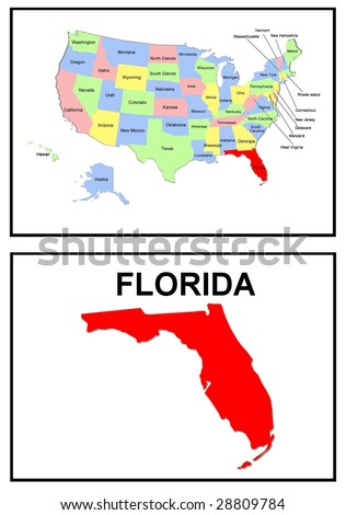 a full color map of the united states of america with the florida - stock photo
