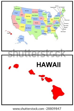 a full color map of the united states of america with the hawaii - stock photo
