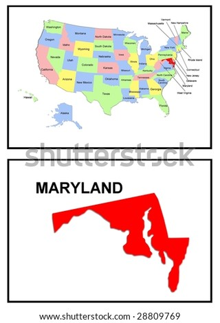 a full color map of the united states of america with the maryland - stock photo