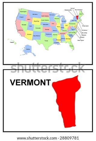 a full color map of the united states of america with the vermont - stock photo