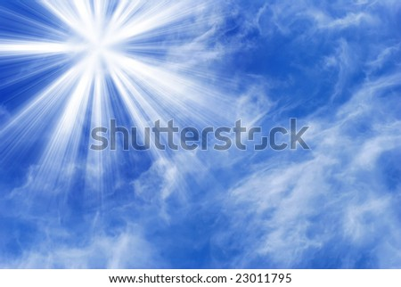 A full frame of wispy clouds with a sunburst. - stock photo