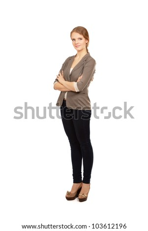 A full length of a businesswoman, standing isolated on white background - stock photo
