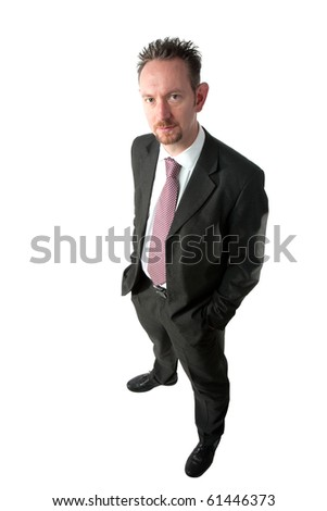 A full length of a mid thirties business man.  The man is wearing a dark grey suit and tie.  The man is looking at camera and has spiky brown hair and a goatee beard.  He has his hands in his pockets. - stock photo