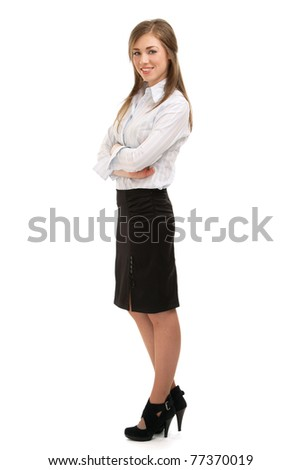 A full-length portrait of a beautiful businesswoman standing - stock photo