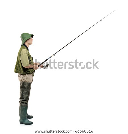 A full length portrait of a fisherman holding a fishing pole isolated against white background - stock photo