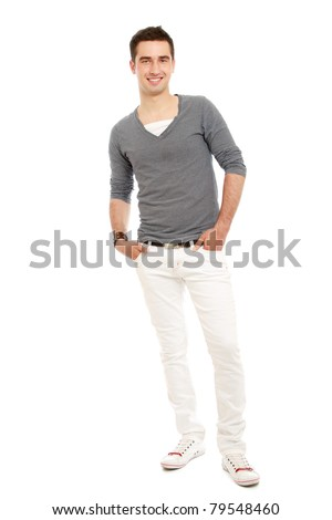 A full-length portrait of a young handsome guy, isolated on white