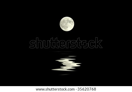 A full moon reflected in the dark sea - stock photo