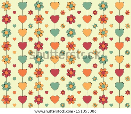 a fun illustrated wallpaper design with flowers and hearts  - stock photo