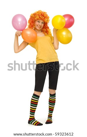A funny girl in a bright wig with beads - stock photo