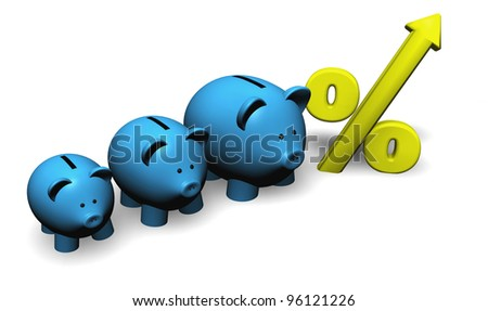 A funny growing piggybank or moneybox with percentage symbol. - stock photo