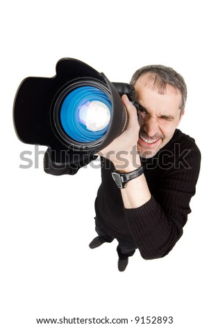 A funny photo of a photographer, isolated on white
