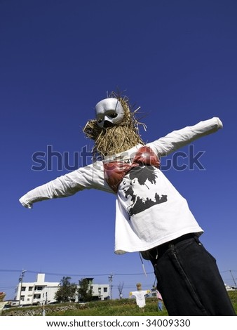 A Funny scarecrow with mask and bra - stock photo