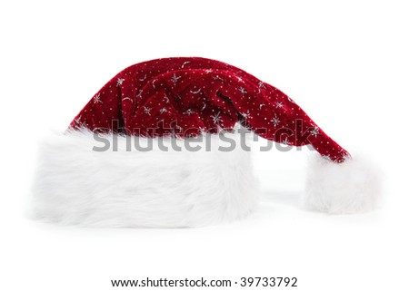 a furry christmas hat on white background - stock photo