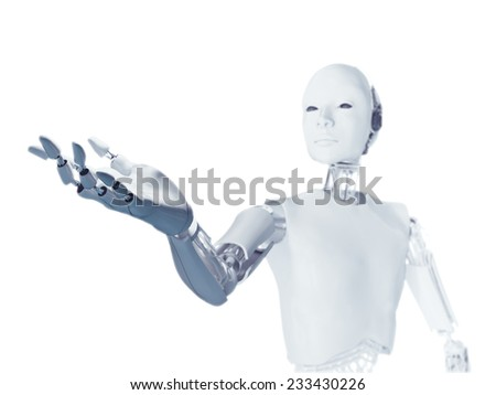 A futuristic android extending an arm with an empty hand - stock photo