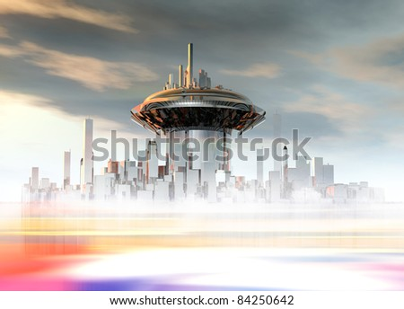 A futuristic building on a alien like planet surface. - stock photo