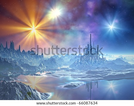 A futuristic city built from ice dominates the surface of the frozen alien world whilst the multicoloured stars glisten above. - stock photo