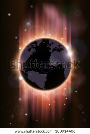 A futuristic world globe concept illustration with light rays and stars - stock photo