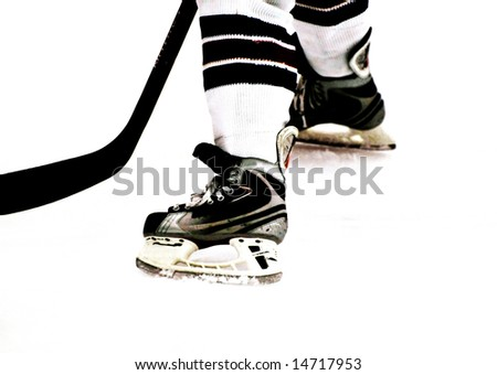 a game in the girl's ice hockey leauge 2008 in Umea, Sweden - stock photo