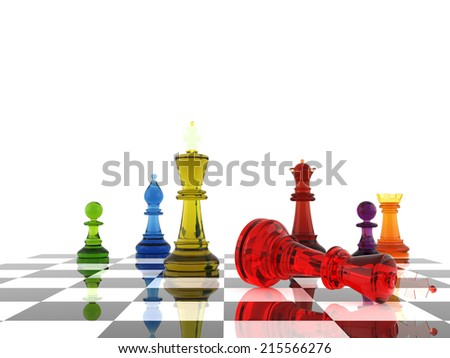 A game of chess comes to an end. The king is checkmated. Three Dimensional Rendering - stock photo
